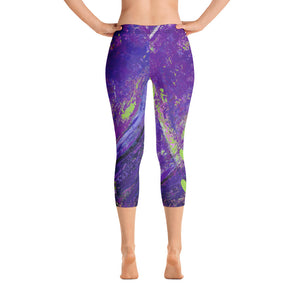 """Coral Heart Purple and Lime with Green Hearts SFG"" Regular-Waist Capris P"