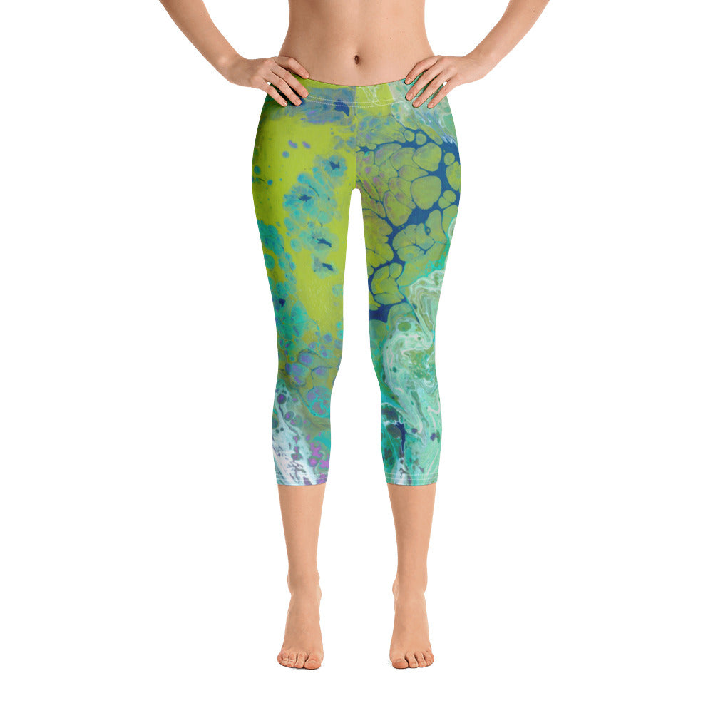 """Fluid Lime"" Regular-Waist Capris P"