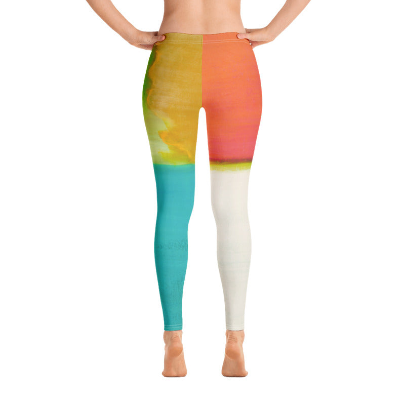 """Orange Color Blocks"" Regular-Waist Leggings"