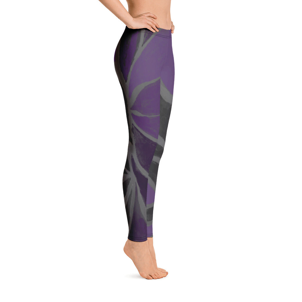 """Purple Leaves Paws and Claws"" Regular-Waist Leggings P"