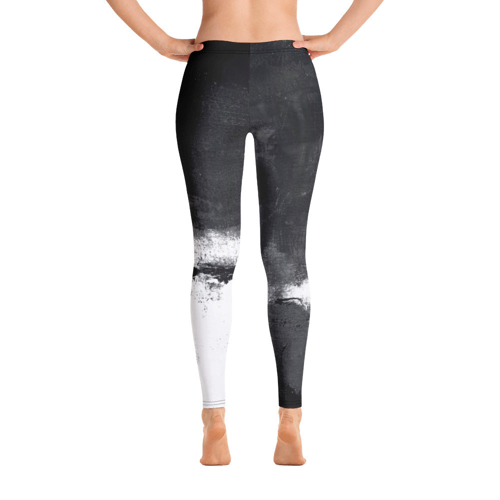 """Abstract Woman Black and White with Red Hearts"" Regular-Waist Leggings P"