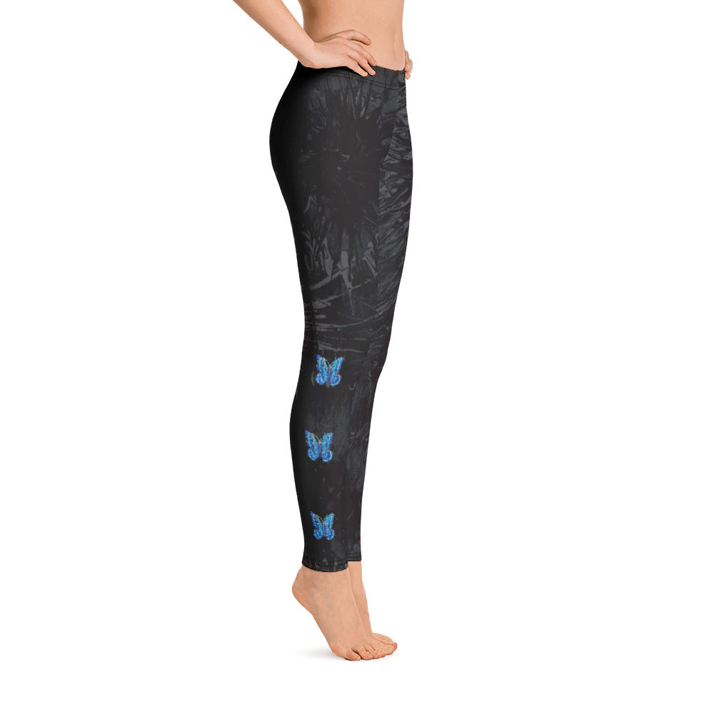 """Black Splatter with Blue Butterflies Tidewell"" Regular-Waist Leggings P"
