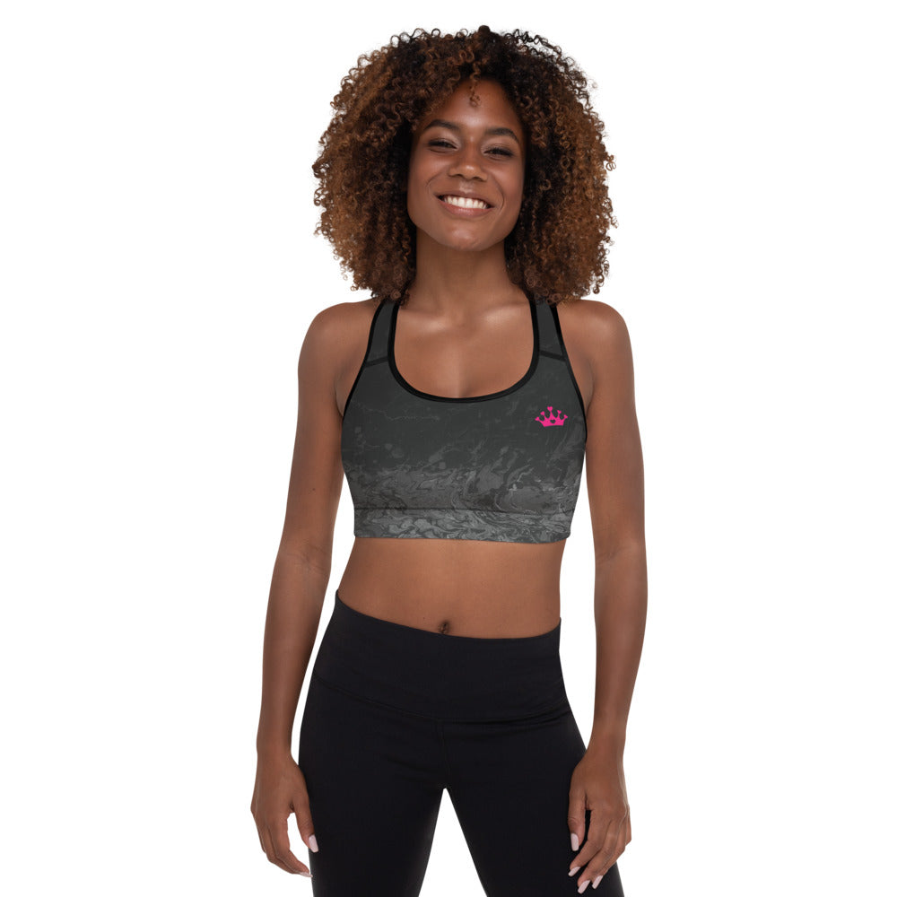 """Domino Queen - Fluid Black and Grey with Pink Crowns"" Padded Sports Bra P"