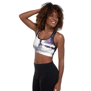 """Abstract Woman Purple with Purple Butterflies"" Padded Sports Bra"
