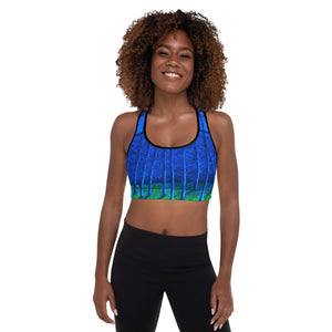 """Cobalt Trees at Midnight"" Padded Sports Bra"