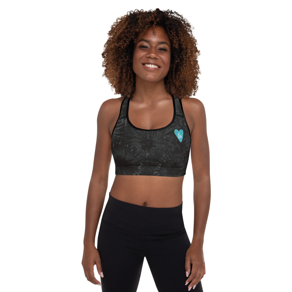 """Black Splatter with Blue Hearts BBBS"" Padded Sports Bra P"