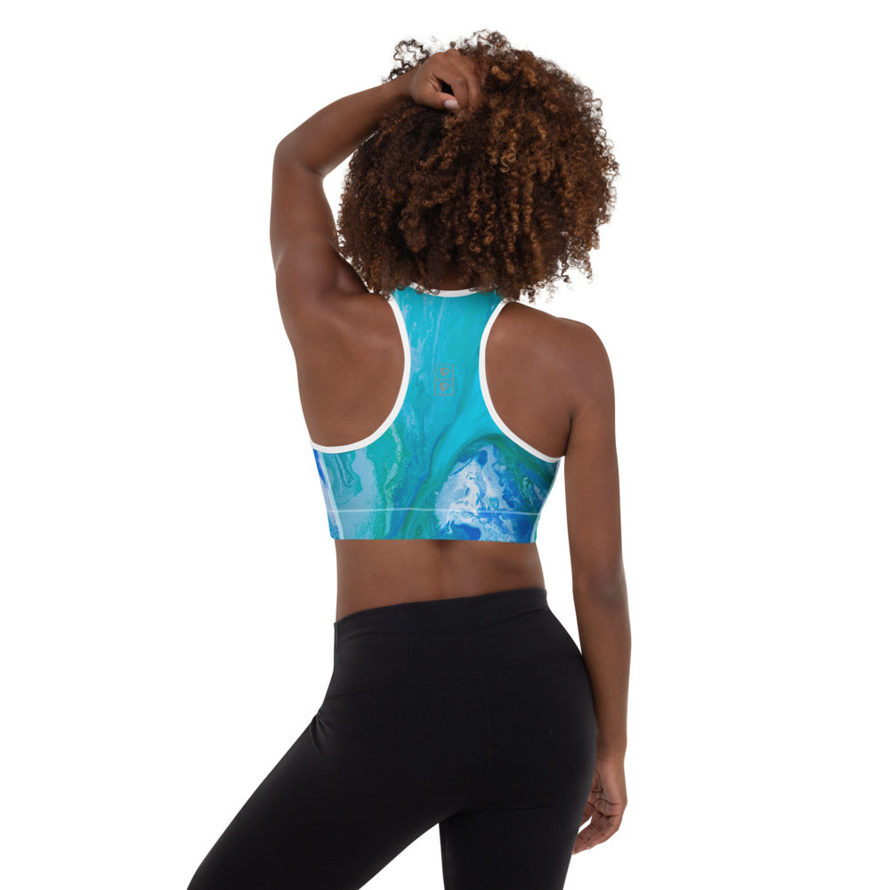 """Fluid Turquoise"" Padded Sports Bra P"
