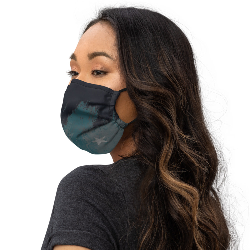 """Fluid Turquoise Grey with Grey Star"" Face Mask P"