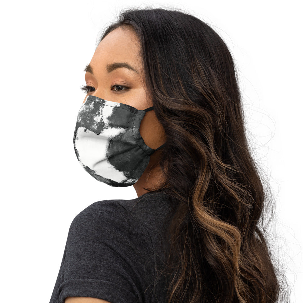 """Abstract Woman Black and White with Red Heart"" Face Mask P"