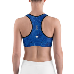 """Bravery - Royal Blue Splatter with White Stars"" Sports Bra"