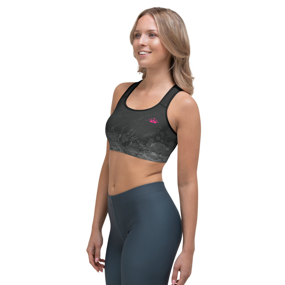 """Domino Queen - Fluid Black and Grey with Pink Crowns"" Sports Bra P"