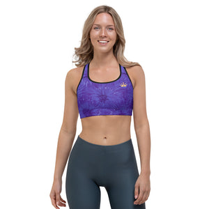 """Domino Queen - Purple Splatter with Gold Crowns"" Sports Bra"