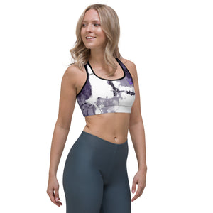 """Abstract Woman Purple with Purple Butterflies"" Sports Bra P"