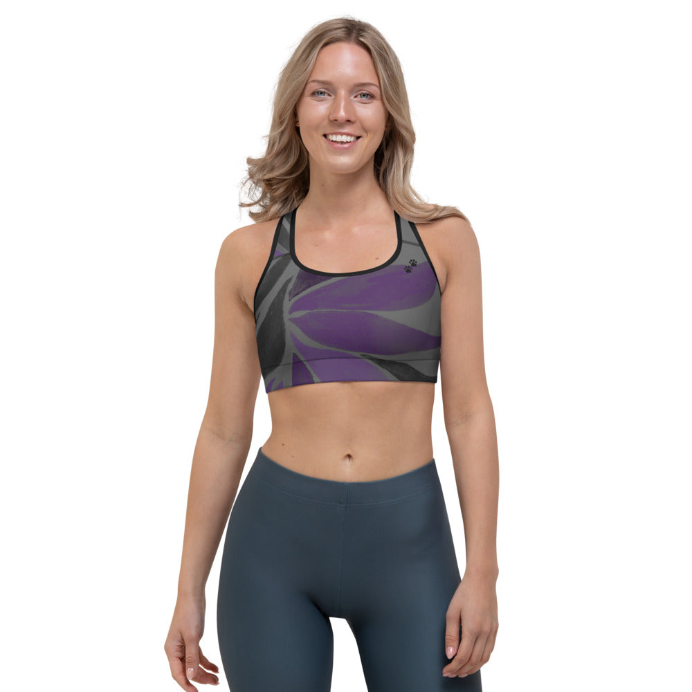 """Purple Leaves Paws and Claws"" Sports Bra P"