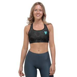"""Black Splatter with Blue Hearts BBBS"" Sports Bra P"