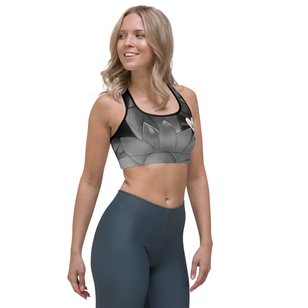 """Flower on Grey with Blush Hearts BBBS"" Sports Bra P"