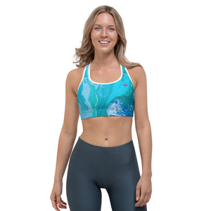 """Domino Queen - Fluid Turquoise with Fuchsia Crowns"" Sports Bra"