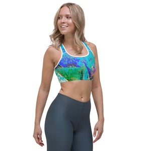 """Coral Heart Blue"" Sports Bra P"