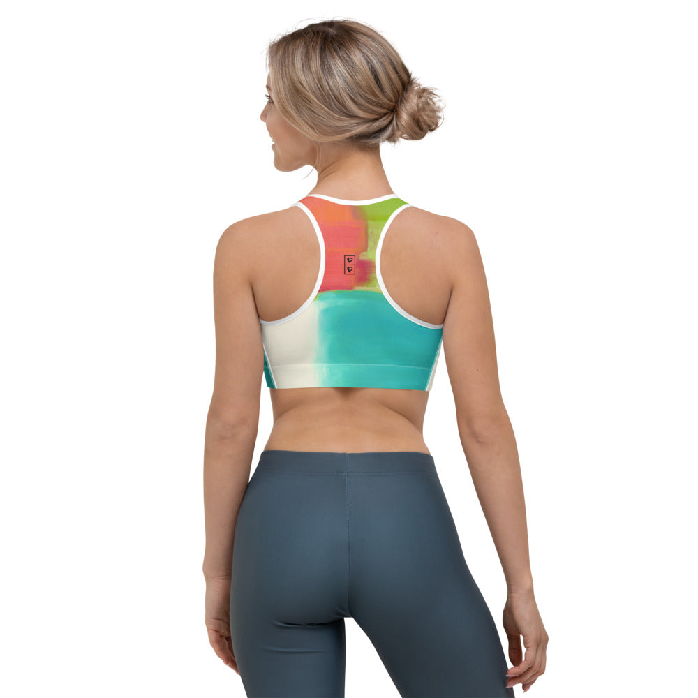 """Orange Color Blocks""Sports Bra P"