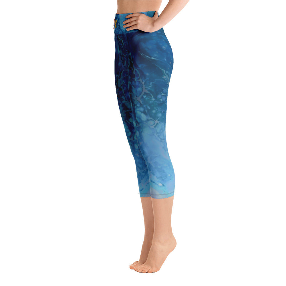 """Fluid Blues with Yellow Butterflies"" High-Waist Capris"
