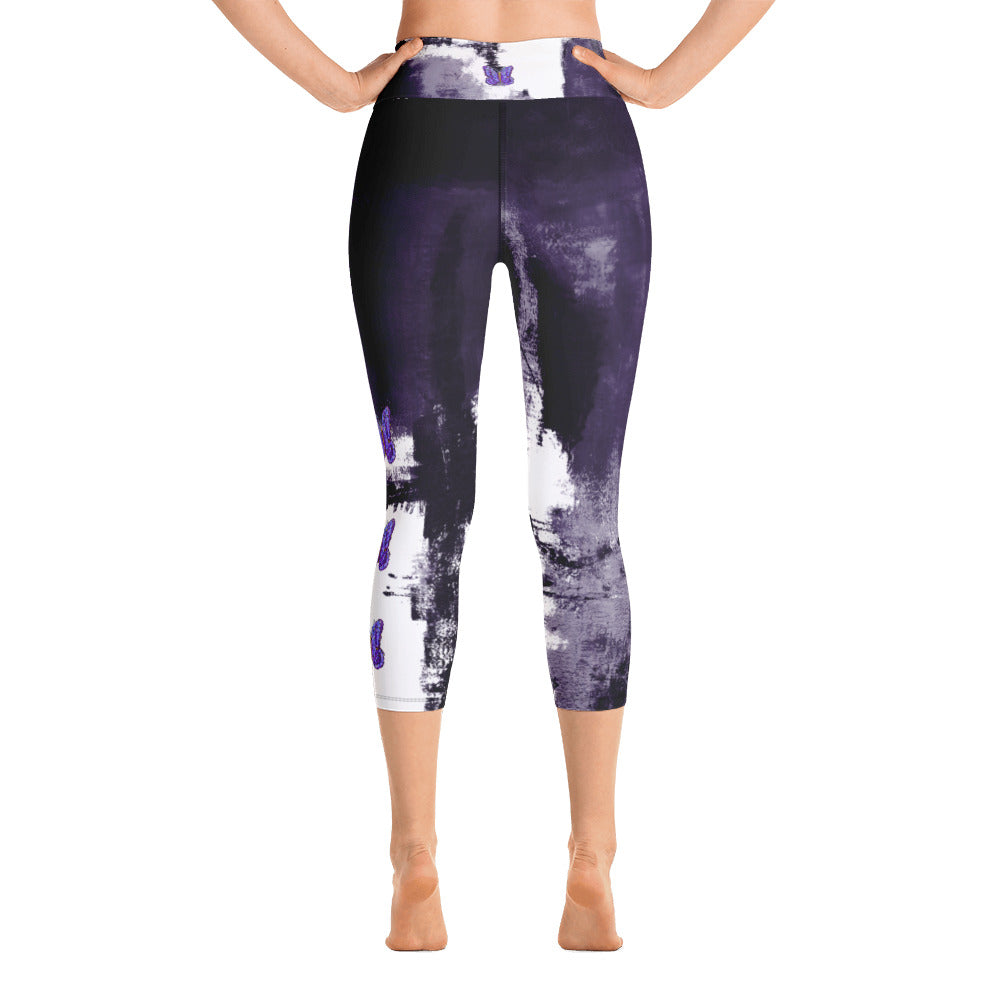 """Abstract Woman Purple with Purple Butterflies"" High-Waist Capris P"