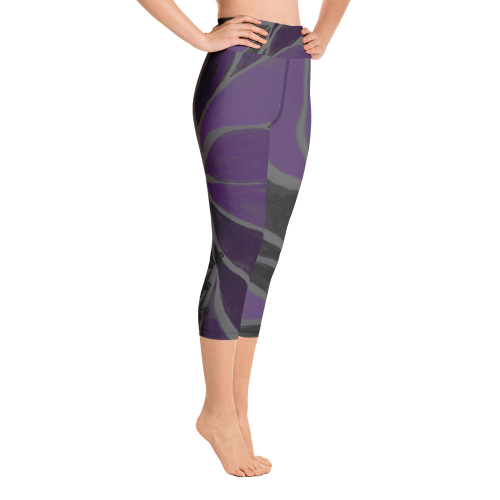 """Purple Leaves Paws and Claws"" High-Waist Capris P"