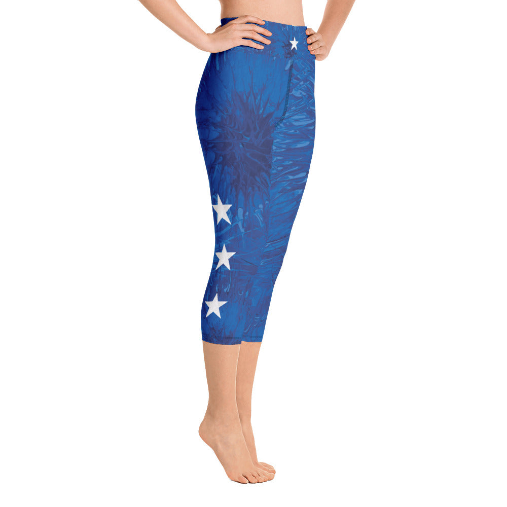"""Bravery - Royal Blue Splatter with White Stars"" High-Waist Capris P"