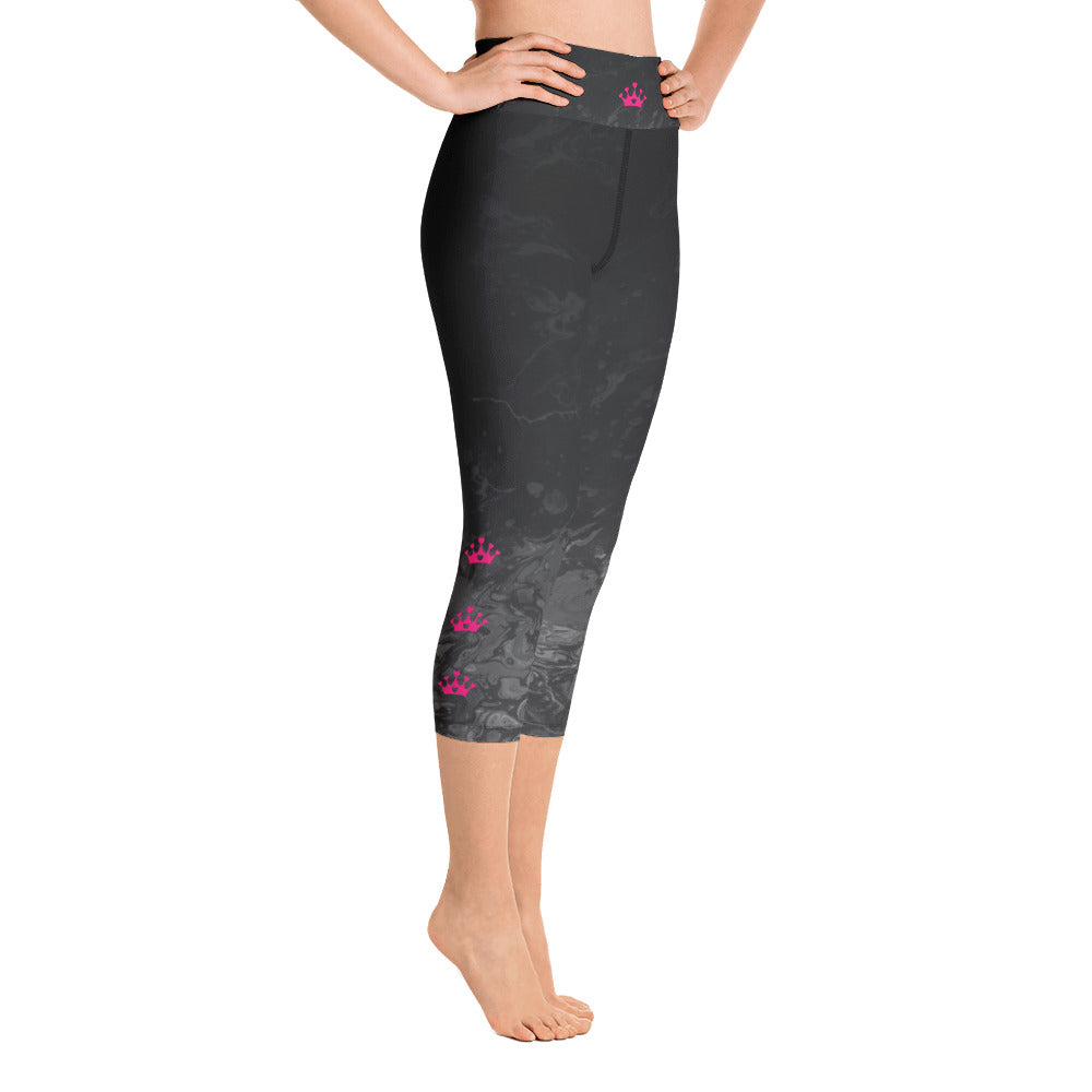 """Domino Queen - Fluid Black and Grey with Pink Crowns"" High-Waist Capris P"