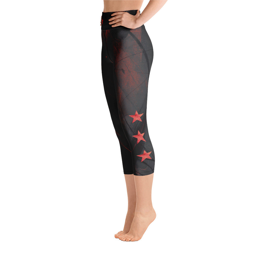 """Heart of Color Black with Red Stars"" High-Waist Capris P"