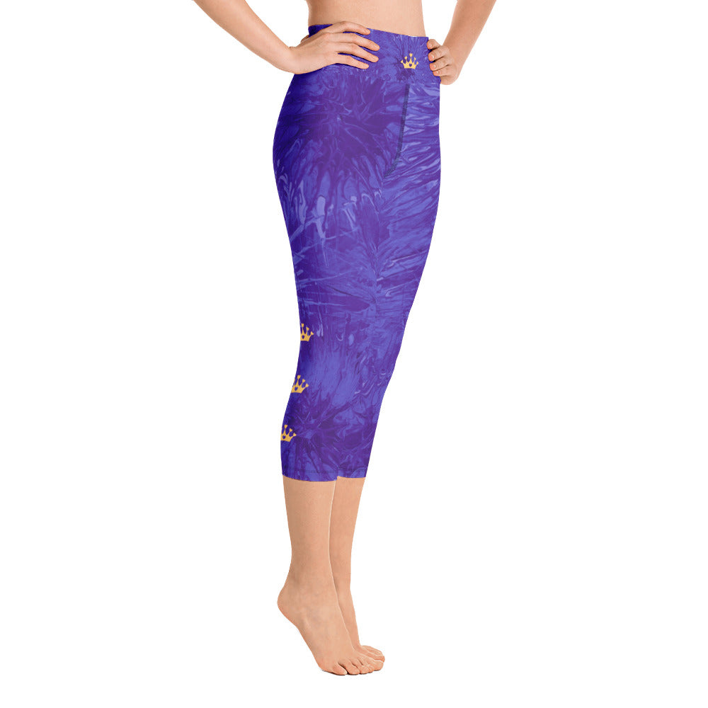 """Domino Queen - Purple Splatter with Gold Crowns"" High-Waist Capris P"