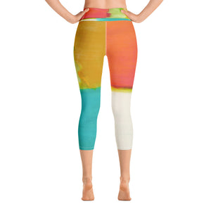 """Orange Color Blocks"" High-Waist Capris P"