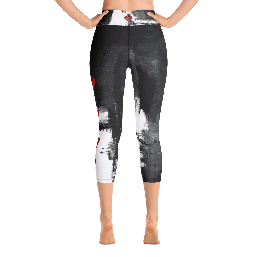 """Abstract Woman Black and White with Red Hearts"" High-Waist Capris P"