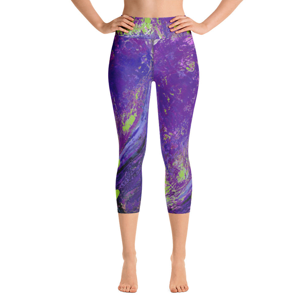 """Coral Heart Purple and Lime with Green Hearts SFG"" High-Waist Capris P"