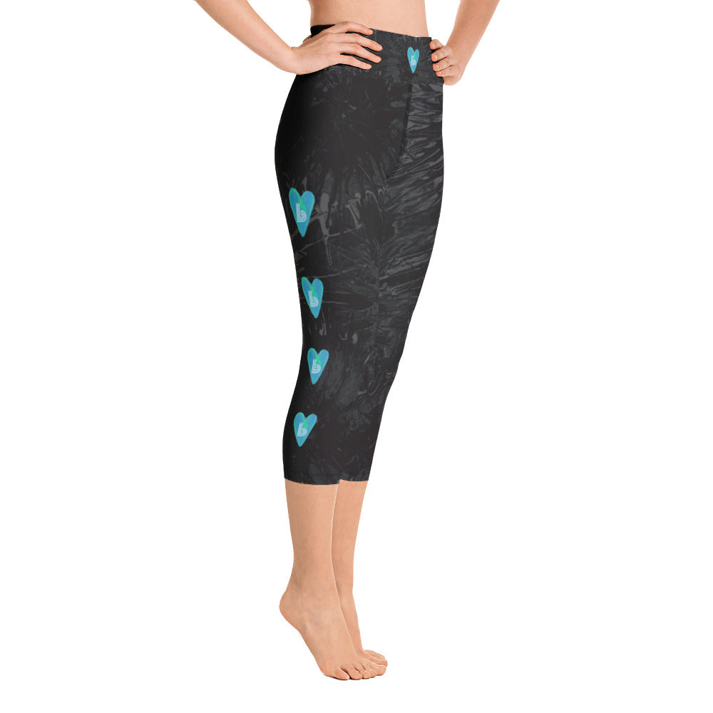 """Black Splatter with Blue Hearts BBBS"" High-Waist Capris P"
