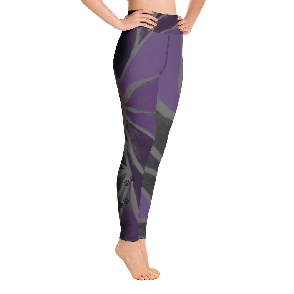 """Purple Leaves Paws and Claws"" High-Waist Leggings P"
