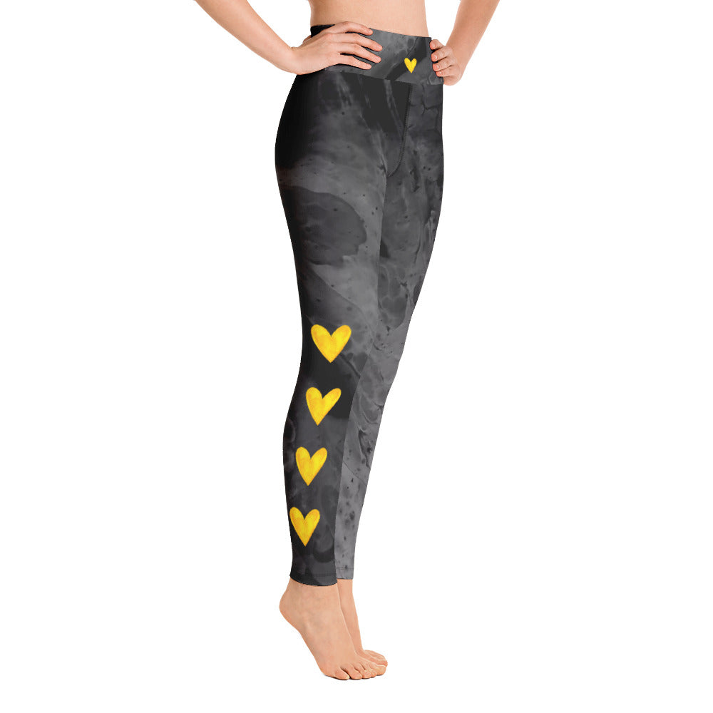 """Optimism - Fluid Dark Grey with Yellow Hearts"" High-Waist Leggings P"