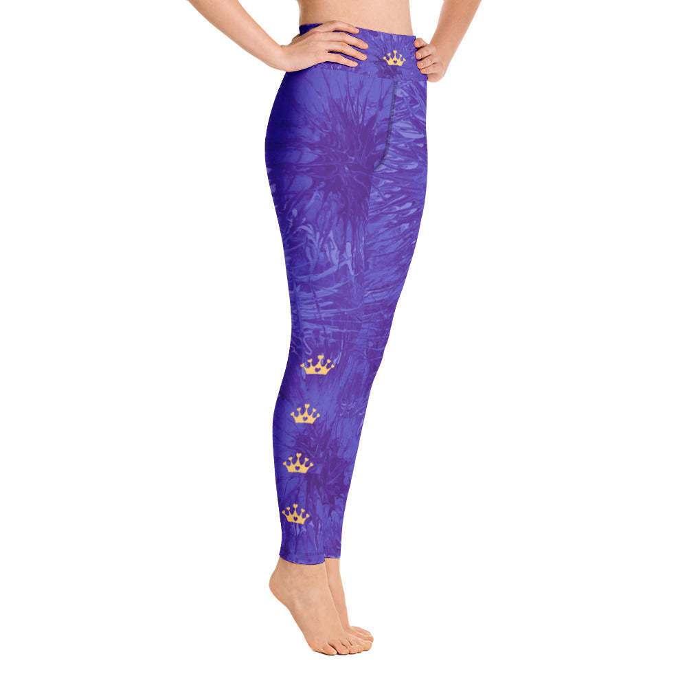"""Domino Queen - Purple Splatter with Gold Crowns"" High-Waist Leggings P"