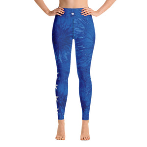 """Bravery - Royal Blue Splatter with White Stars"" High-Waist Leggings P"