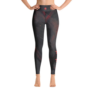 """Heart of Color Black with Red Stars"" High-Waist Leggings P"