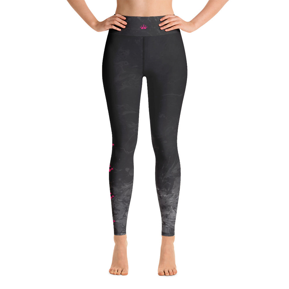 """Domino Queen - Fluid Black and Grey with Pink Crowns"" High-Waist Leggings P"