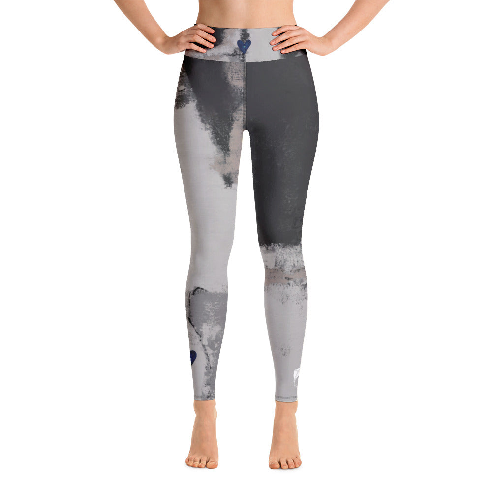 """Abstract Woman Black and Grey CCC"" High-Waist Leggings P"