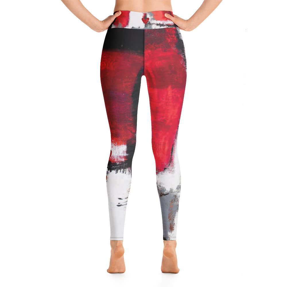 """Abstract Woman Red and Grey with Red Hearts"" High-Waist Leggings P"