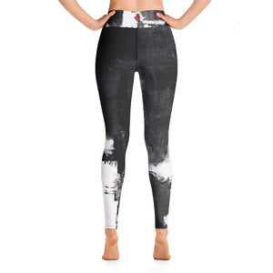"""Abstract Woman Black and White with Red Hearts"" High-Waist Leggings P"