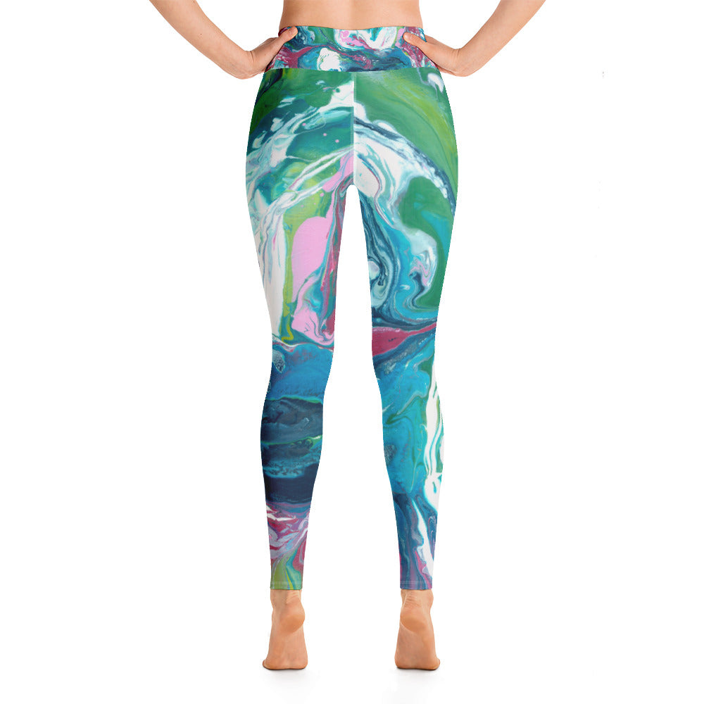 """Fluid Pink and Greens"" High-Waist Leggings P"