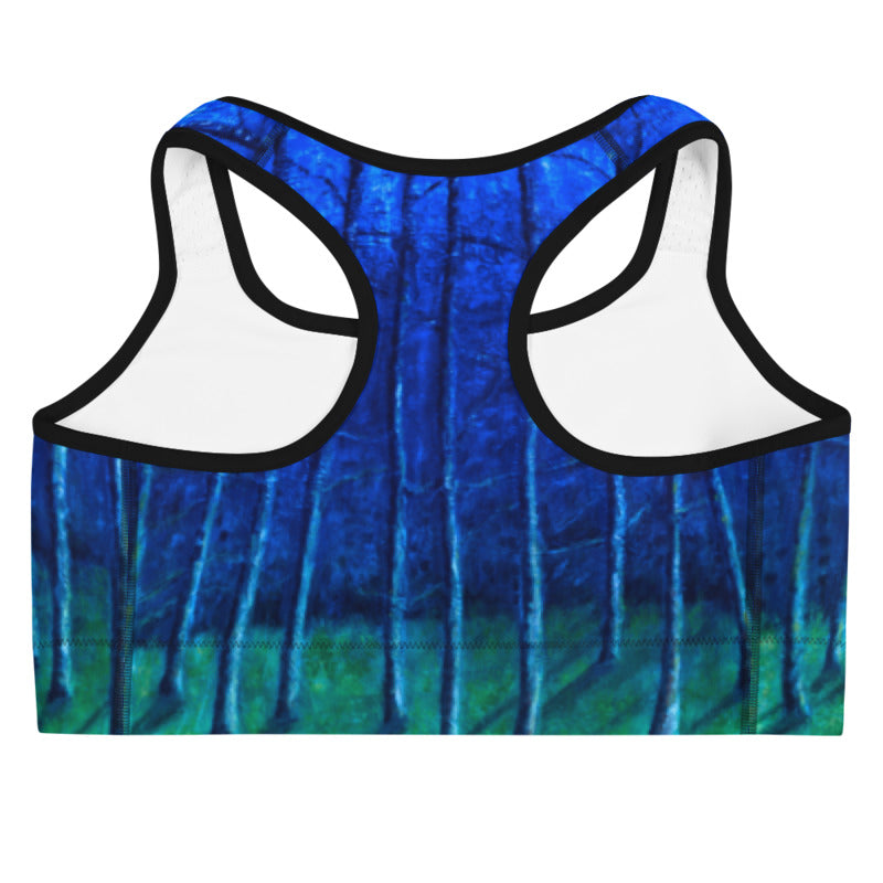 """Cobalt Trees at Midnight"" Sports Bra"