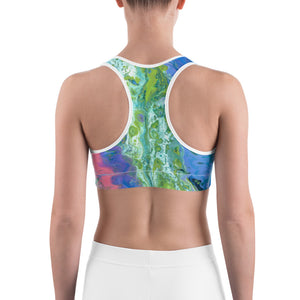 """Fluid Coral & Blue"" Sports Bra"