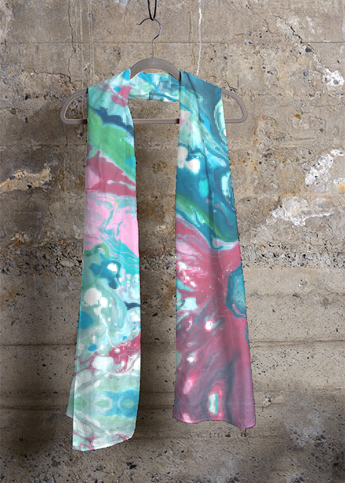 """Fluid Pink and Greens"" Scarf"
