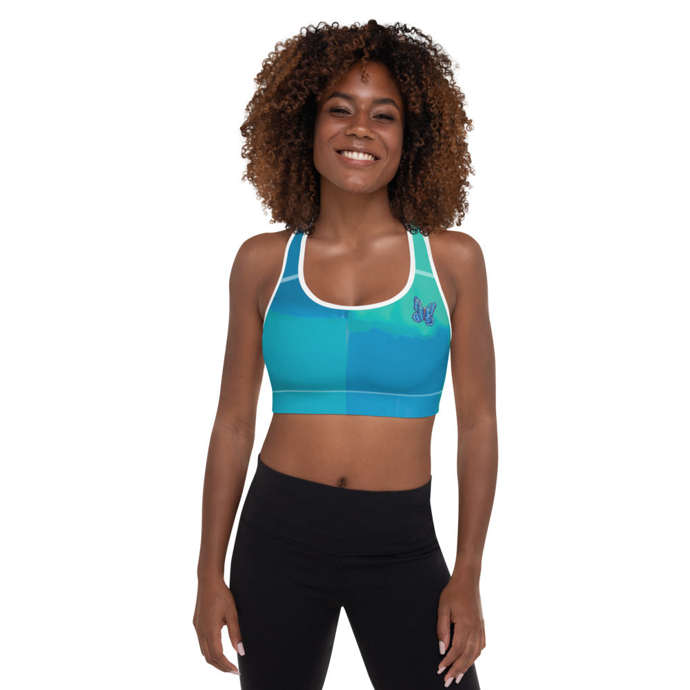 """Color Block Green and Blue Tidewell"" Padded Sports Bra"