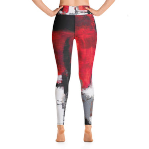 """Abstract Woman Red and Grey"" High-Waist Leggings"