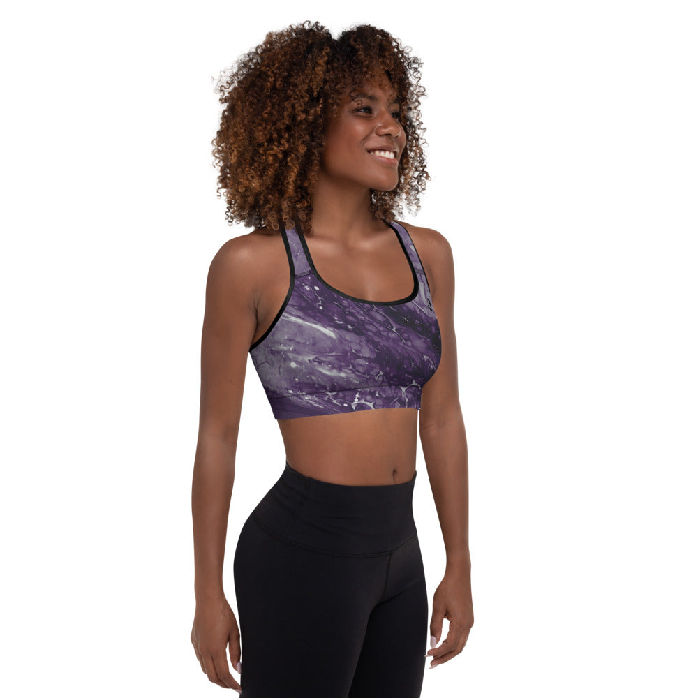 """Fluid Dark Purple Paws and Claws"" Padded Sports Bra P"